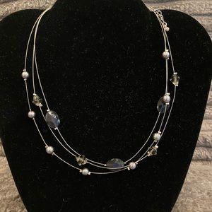 Lia Sophia triple strand beaded necklace